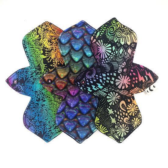 "Starter Set of 3 Medium 10"" Pads - Rainbow Cotton Mix"