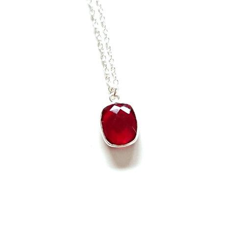 Octagon Garnet Silver Filled Necklace