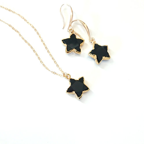 Star Black Onyx Gold Filled Necklace & Earrings Set