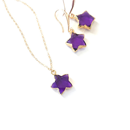 Star Amethyst Gold Filled Necklace & Earrings Set