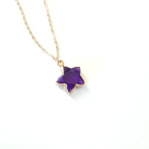 Star Amethyst Gold Filled Necklace