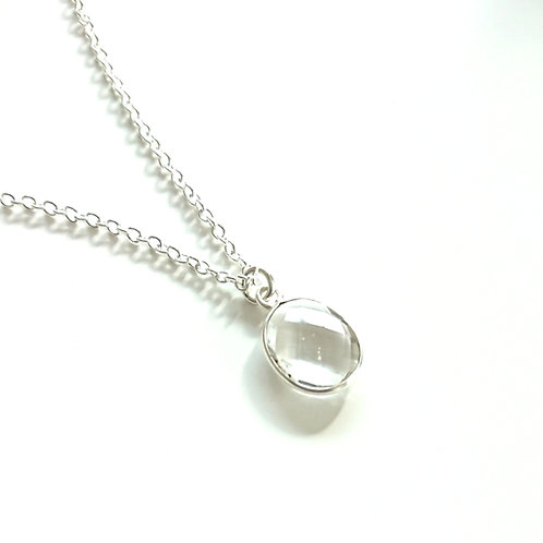 Oval Quartz Silver Filled Necklace