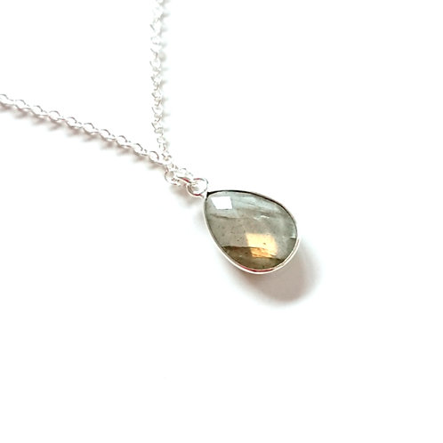 Drop Labradorite Silver Filled Pendant Necklace
