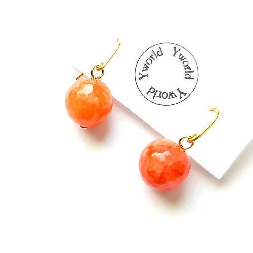 12mm Ball Earrings/ Orange Quartz
