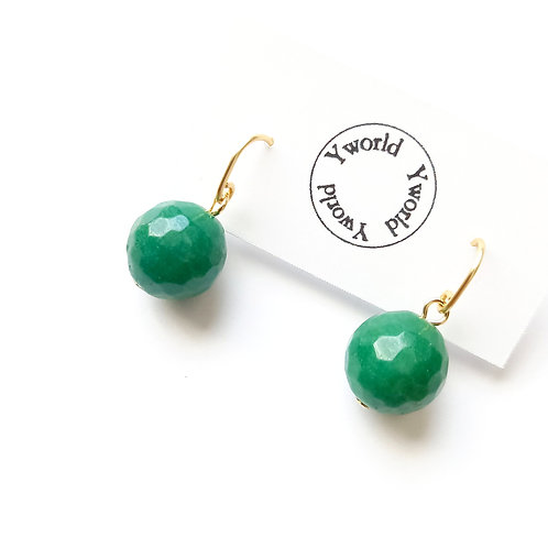 12mm Ball Earrings/ Green Quartz