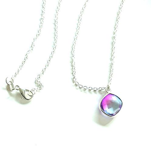 Cushion Quartz Silver Filled Necklace