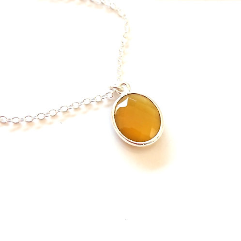 Oval Chalcedony Silver Filled Necklace