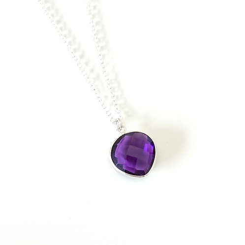 Heart Amethyst Silver Filled Necklace