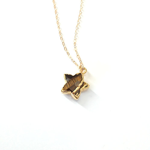Star Tiger Eye Gold Filled Necklace