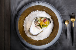 Oyster with Coconut cream, Cucumber