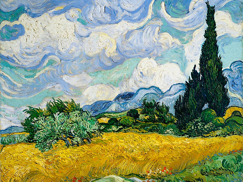Wheat Field with Cypresses (1889) by Vincent Van Gogh Fine Art Print