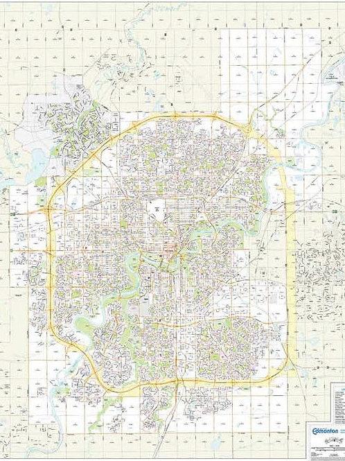 "City of Edmonton large laminated wall map. 54x43"""