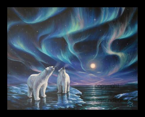 Aurora Night Polar Bears by Ellie Lagrandeur  Canvas With 2 inch gallery wrap bl