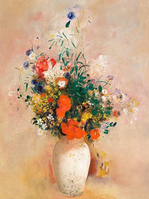 Vase of Flowers (Pink Background) (1906) by Odilon Redon Fine Art Print