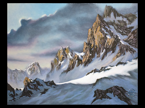 Winter Mountain by Ellie Lagrandeur Canvas With 2 inch gallery wrap black border