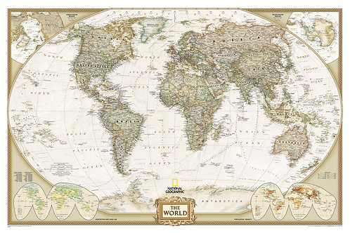 "National Geographic Executive World Map Matte laminated 46x30.5"""