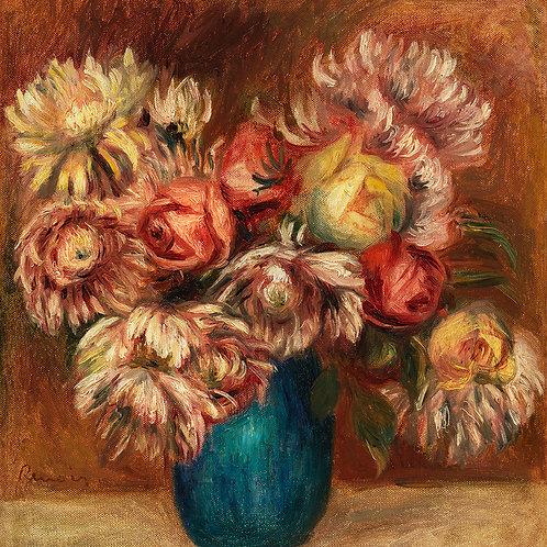 Flowers in a Green Vase by Renoir Fine Art Print