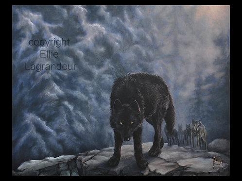 Wolf By Ellie Lagrandeur  Canvas With 2 inch gallery wrap black border