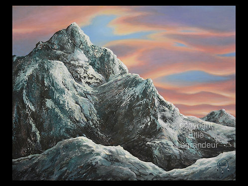 Sunset Mountain by Ellie Lagrandeur Canvas With 2 inch gallery wrap black border