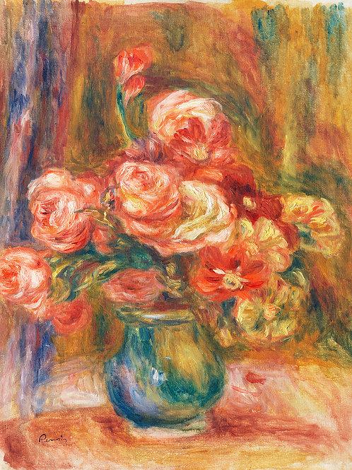 Vase of Roses (c. 1890–1900) by  Renoir Fine Art Print