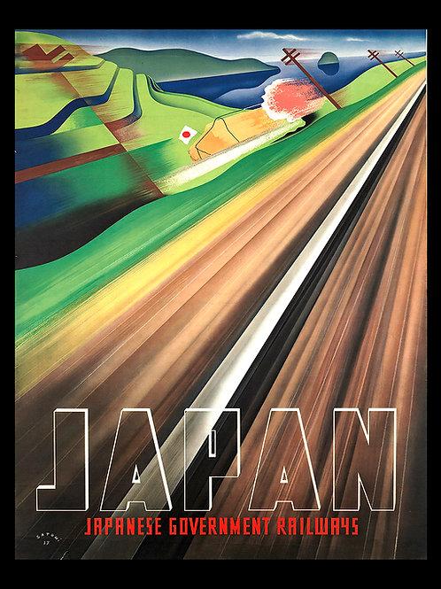 Japan vintage travel poster on archival canvas and framed