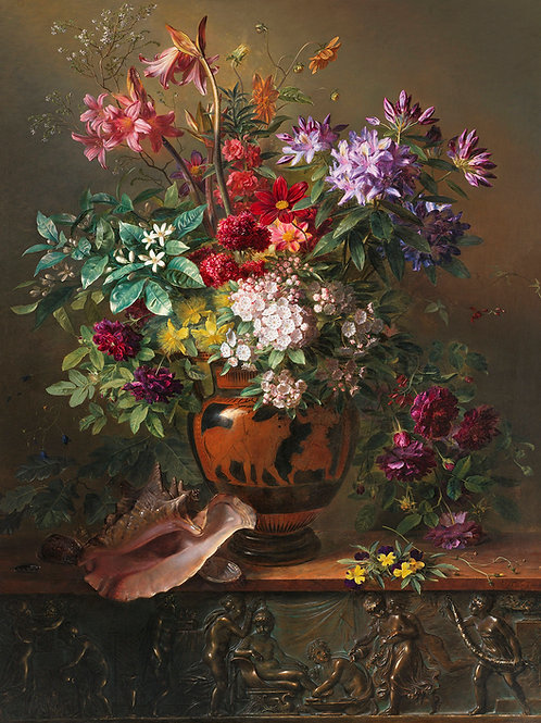 Still Life with Flowers in a Greek Vase Fine Art print