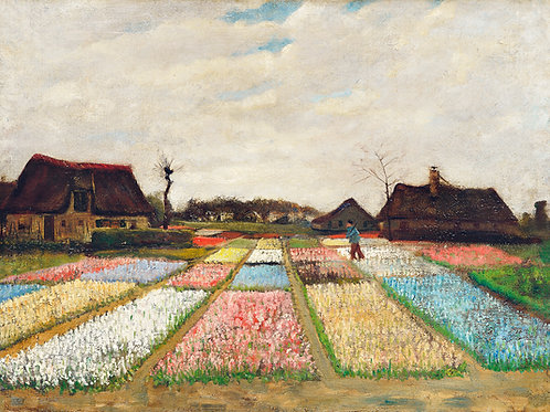 Flower Beds in Holland, c. 1883 Vincent Van Gogh Fine Art Print