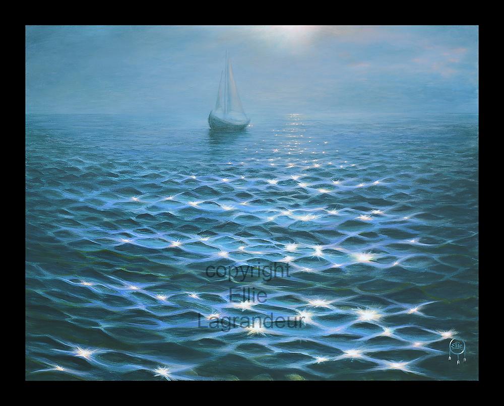 Boat water limited edition print canvas Elllie Lagrandeur