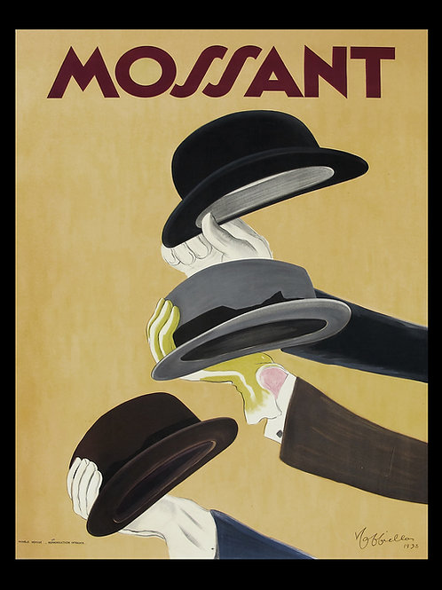 Mossant Vintage Poster Printed on Archival Canvas with Black Wood Frame