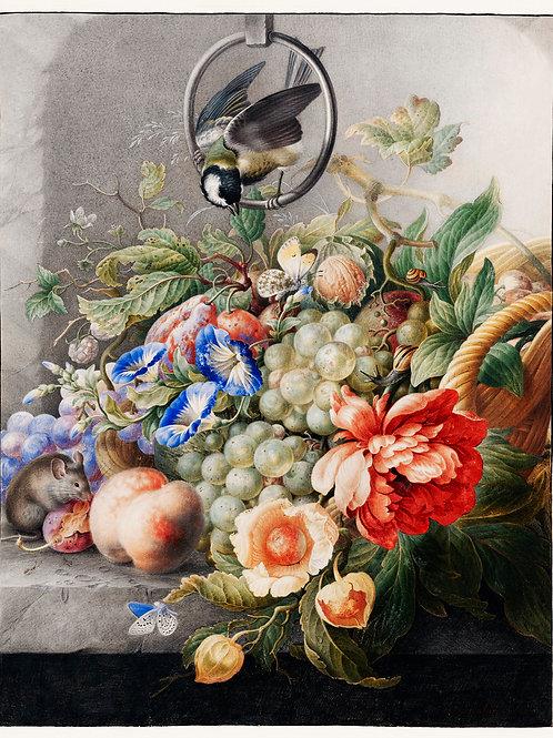 Flowers and fruits by Herman Henstenburgh Fine Art Print