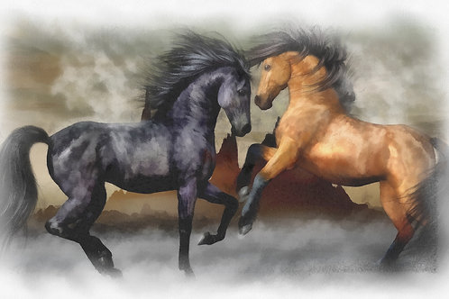 Horse duel Fine Art Print