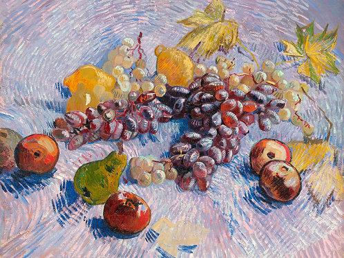 Grapes, Lemons, Pears, and Apples (1887) by Vincent Van Gogh Fine Art Print