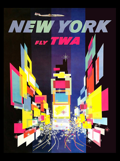 Vintage New York TWA Travel Poster on archival canvas with black wood frame.