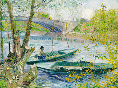 Fishing in Spring, the Pont de Clichy (Asnières) (1887) by Vincent Van Gogh Fine