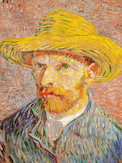 Self-Portrait with a Straw Hat (1887) by Vincent Van Gogh Fine Art Print
