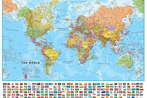 "Craenen World Wall Map Large with Flags 54x40"" Matte Laminated"