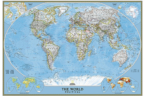 Large Classic National Geographic World Wall Map Matte Laminated 68x46""