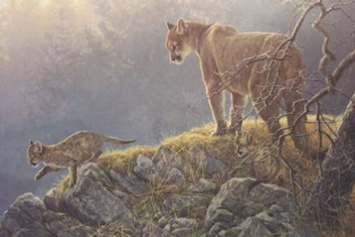 Excursion - Cougar and Kids - Lithograph By Robert Bateman
