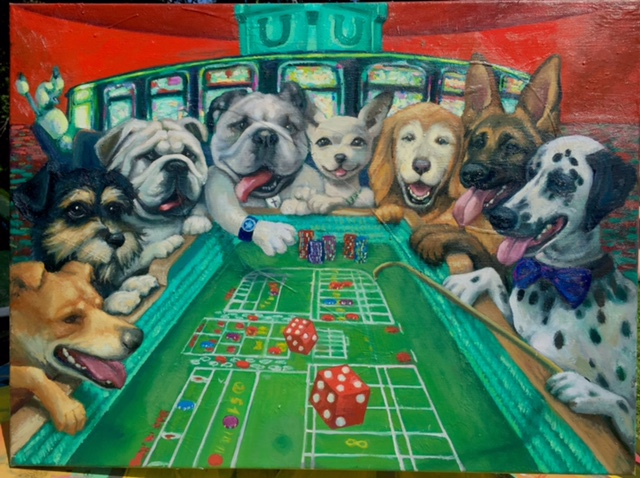 Portrait of Dogs play Craps