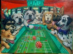 Portrait of Dogs play Craps