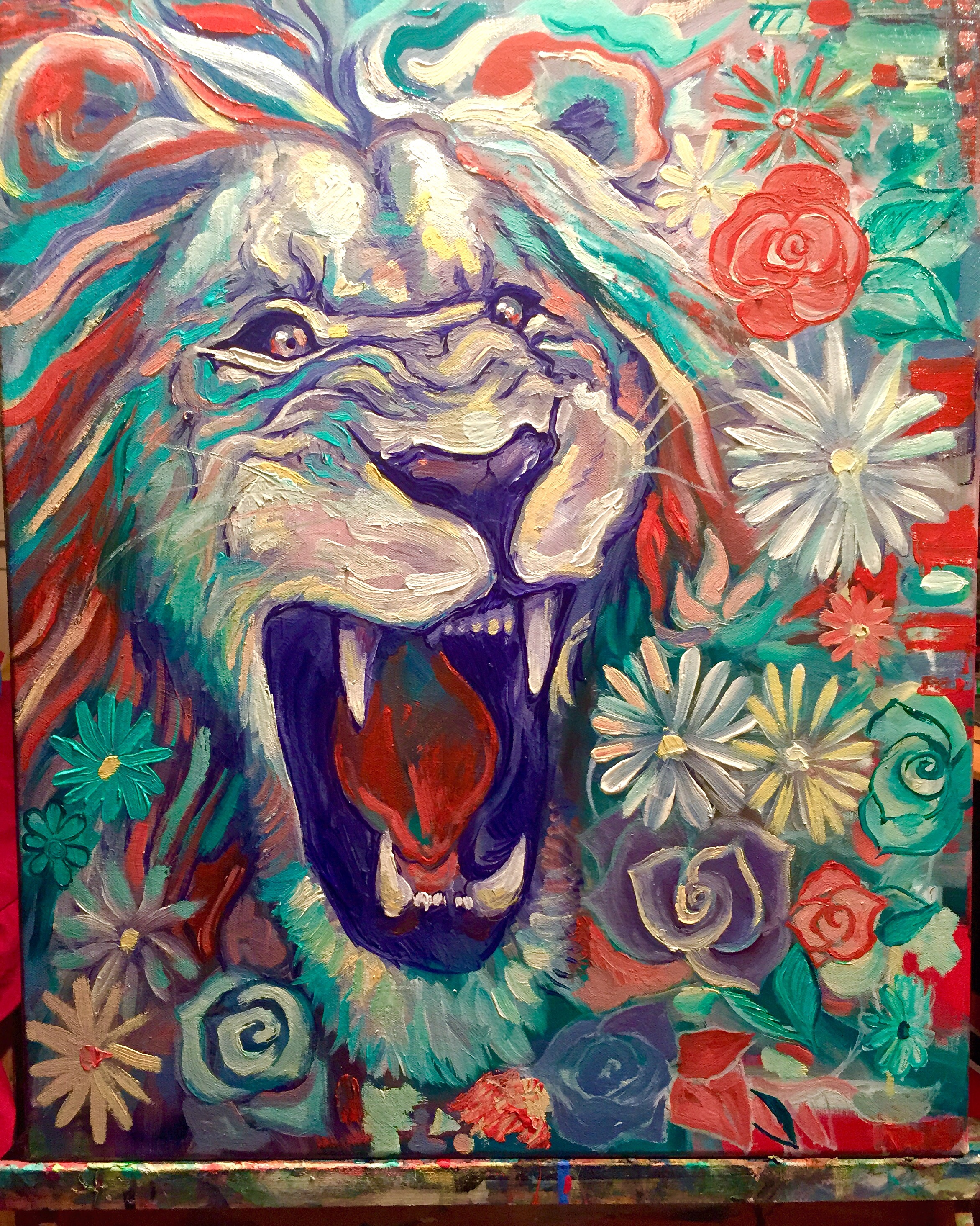 Portrait of Lion and Flowers