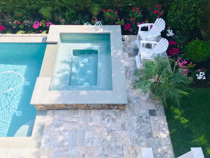 Silver Travertine Pool Patio