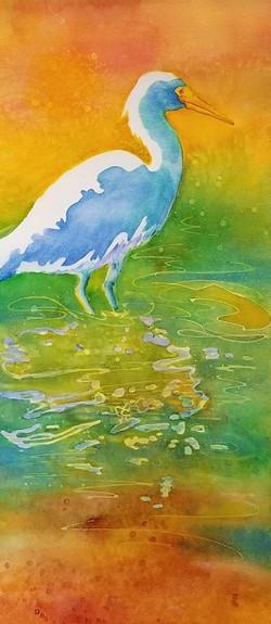 "Crane in Gold Water ~ 11"" x 22""  ~ 150.00"