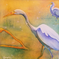 "Two Cranes ~8"" x 8"" ~ 95.00"
