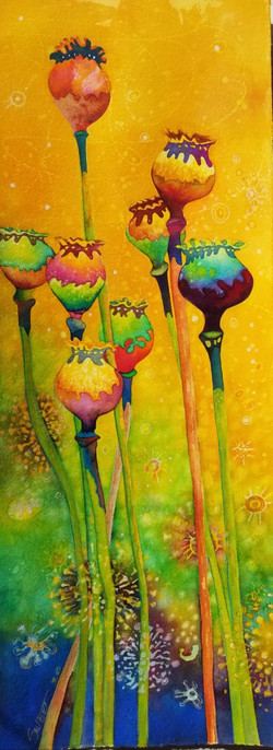 """Poppy Pods in the Time of Covid ~ Watercolor ~ 11"""" x 34"""" ~ 950.00 Framed"""