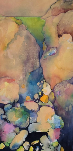 """Rocks and Water I - 9 x 18"""" 50.00"""