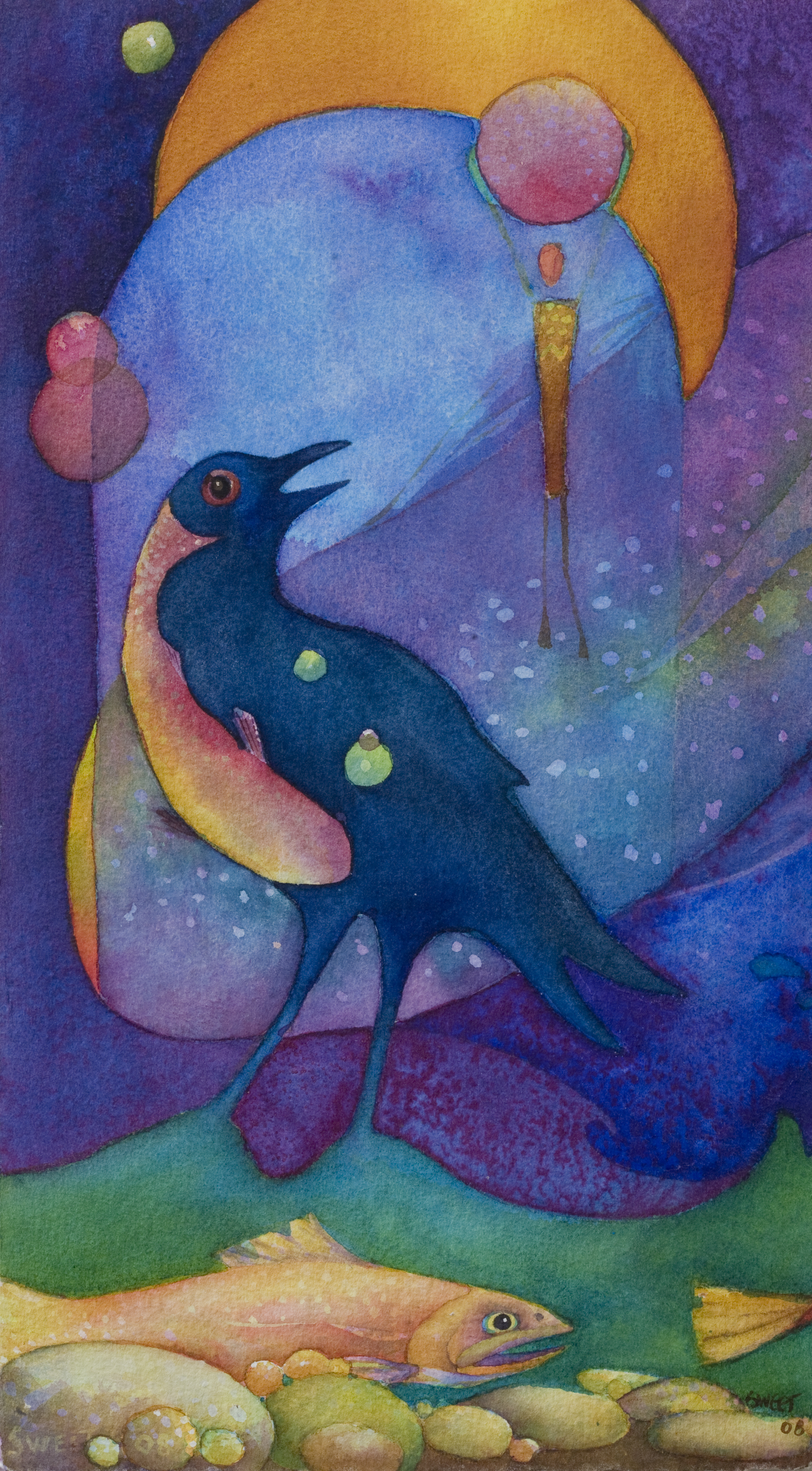 Raven and fish 11x15 SOLD
