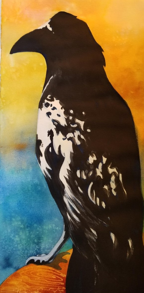 """Sunset Crow ~ Watercolor mixed media ~ 11"""" x 22"""" ~ 125.00"""