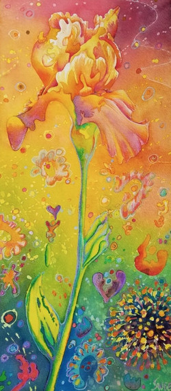 """Iris in the time of Covid ~ Watercolor and pencil ~ 10"""" x 22"""" - SOLD"""