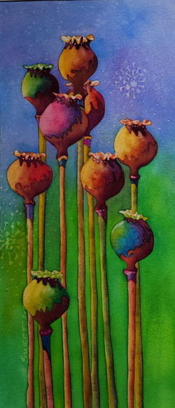 """Poppy Pods in Blue in the Time of Covid 15 x 27"""" Framed 475."""